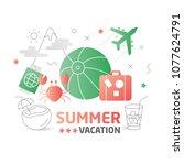 illustration summer flat lines | Shutterstock . vector #1077624791