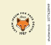 line style fox face with retro... | Shutterstock .eps vector #1077628949