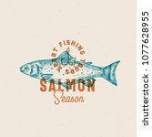 salmon fishing season. abstract ... | Shutterstock .eps vector #1077628955