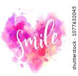 watercolor imitation heart...   Shutterstock .eps vector #1077632045