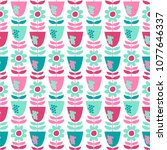 seamless vector pattern with... | Shutterstock .eps vector #1077646337