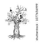 grim gloomy ink tree   dark... | Shutterstock .eps vector #1077656999