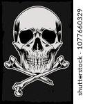 bones black and white vector... | Shutterstock .eps vector #1077660329