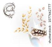 corn flakes oats milk spray 3d... | Shutterstock .eps vector #1077662777