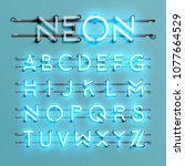 realistic neon font with wires... | Shutterstock .eps vector #1077664529