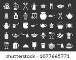 crockery icon set vector white... | Shutterstock .eps vector #1077665771