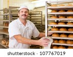 baker standing in his bakery in ... | Shutterstock . vector #107767019