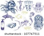 diving   the life of aquatic ... | Shutterstock . vector #107767511