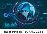 hud display with a volumetric... | Shutterstock . vector #1077682151