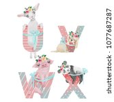 cute watercolor alphabet with... | Shutterstock . vector #1077687287