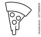 pizza icon. outline... | Shutterstock . vector #1077689834