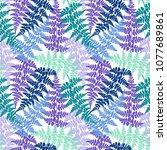 fern frond herbs  tropical... | Shutterstock .eps vector #1077689861