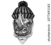 rhinoceros  rhino cool animal... | Shutterstock .eps vector #1077691181