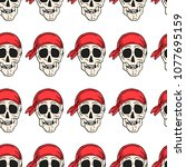 skull with bandana vector... | Shutterstock .eps vector #1077695159