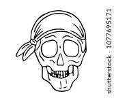 skull with bandana vector... | Shutterstock .eps vector #1077695171