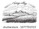 rural landscape field wheat in... | Shutterstock .eps vector #1077701915