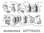 vector beer infographics with... | Shutterstock .eps vector #1077702221
