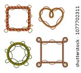 decorative colorful rope frames ... | Shutterstock .eps vector #1077702311