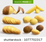 raw potatoes set on transparent ... | Shutterstock .eps vector #1077702317