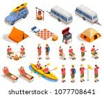 camping hiking isometric icons... | Shutterstock .eps vector #1077708641
