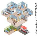 medical equipment isometric... | Shutterstock .eps vector #1077708647