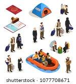 stateless refugees asylum icons ...   Shutterstock .eps vector #1077708671