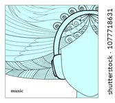 girl face in headphones ... | Shutterstock .eps vector #1077718631