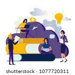 vector flat illustration  cloud ... | Shutterstock .eps vector #1077720311