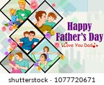 happy father's day greeting... | Shutterstock .eps vector #1077720671