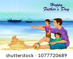 happy father's day greeting... | Shutterstock .eps vector #1077720689