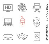 cinema linear icons set. hd ... | Shutterstock .eps vector #1077721529
