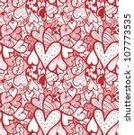 doodle textured hearts seamless ... | Shutterstock .eps vector #107773535