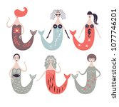 cute mermaids illustration | Shutterstock .eps vector #1077746201