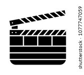clapperboard glyph icon. time... | Shutterstock .eps vector #1077747059