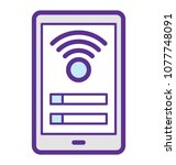 a mobile with internet hotspot ... | Shutterstock .eps vector #1077748091