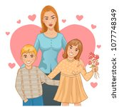mother with two children  boy... | Shutterstock .eps vector #1077748349