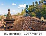 ancient roof landscape view. | Shutterstock . vector #1077748499