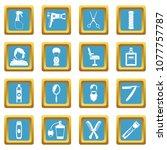 hairdressing icons set in azur... | Shutterstock . vector #1077757787
