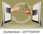money exchange concept  hands...   Shutterstock . vector #1077760529