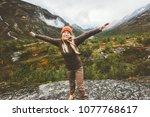 happy woman raised hands... | Shutterstock . vector #1077768617