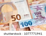 turkish and european currency   ... | Shutterstock . vector #1077771941