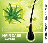aloe vera for hair care  ... | Shutterstock .eps vector #1077775004