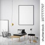 mock up poster frame in... | Shutterstock . vector #1077777707