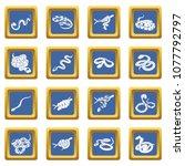 snake icons set vector blue... | Shutterstock .eps vector #1077792797