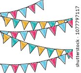 doodle party flags decoration... | Shutterstock .eps vector #1077797117