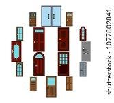 flat door icons set. universal...
