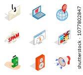 web laptop icons set. isometric ... | Shutterstock .eps vector #1077802847