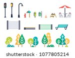 street furniture and trees set. ... | Shutterstock .eps vector #1077805214