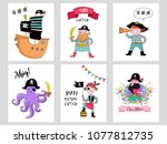 pirate collection of hand drawn ... | Shutterstock .eps vector #1077812735