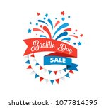 happy bastille day  the french... | Shutterstock .eps vector #1077814595
